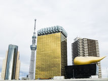 Asahi Building and Tokyo Skytree Royalty Free Stock Photos