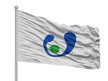 Asahi City Flag On Flagpole, Japão, Chiba, isolado no fundo branco Ilustração Royalty Free