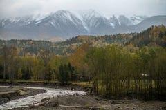 Asahidake con la foresta di autunno in priorità alta Fotografia Stock Libera da Diritti