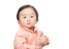 Asain baby boy play toy block Stock Photography