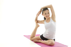 Asain girl doing yoga Stock Photo
