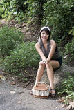 Asain girl portrait. An asian girl portrait in garden Royalty Free Stock Image