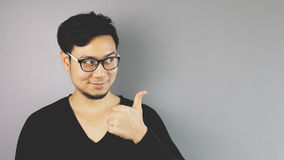 Asain man with grey background Stock Images