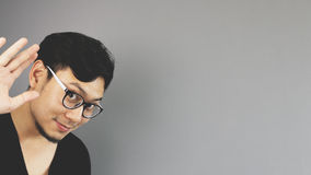 Asain man with grey background Stock Image