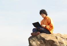 Asain Man with notebook Stock Photos