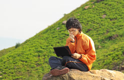 Asain Man with notebook Stock Images