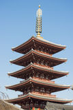 Asakura - Japan , 18 February 2016 :: fifth floor red pagoda at Stock Photos