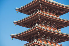 Asakura - Japan , 18 February 2016 :: fifth floor red pagoda at Stock Photo