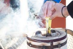 Asakura - Japan , 18 February 2016 :: japanese incense in incens Royalty Free Stock Images