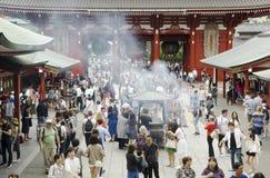 1618年asakusa佛教被编译的日本寺庙东京 免版税库存照片