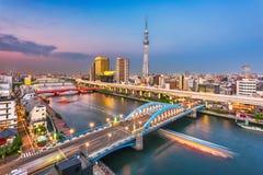 Asakusa, de Horizon van Tokyo, Japan royalty-vrije stock foto