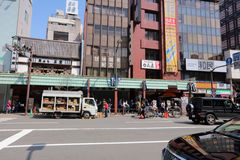 Asakusa district and Senso-ji Temple. Tokyo, Japan cityscape over Asakusa district and Senso-ji Temple Stock Photos