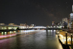 Asakusa dori bridge for crossing sumida river in night view and Royalty Free Stock Images