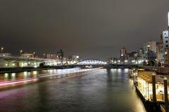 Asakusa dori bridge for crossing sumida river in night view. Royalty Free Stock Photography