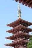 Asakusa. Five-storied pagoda at the temple in Asakusa, Tokyo Japan Royalty Free Stock Images