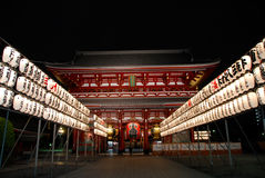 Asakusa Hozomon with lantern at night. The treasure gate of Asakusa temple at night Royalty Free Stock Images