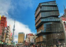 Asakusa information center and the tokyo sky tree, Tokyo, Japan. View of the landmark of tokyo, Asakusa information center was design by kenji kuma Stock Photos
