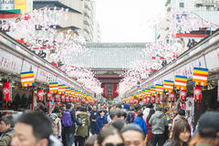 Asakusa - Japan , February 20, 2016 : Nakamise shopping street a. T Sensoji temple , Japan Royalty Free Stock Image