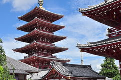 Asakusa Sensoji Pagoda. This famous pagoda is visited by tourist from all over the world and it is a must-visit tourist attraction in Tokyo Royalty Free Stock Photo