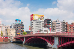 Asakusa shopping area view from the red bridge. Tokyo, Japan - May 5, 2017: Asakusa shopping area view from the red bridge Stock Photography