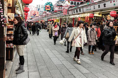 Asakusa shopping lane during the New Years holidays royalty free stock photos
