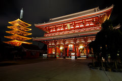 Asakusa Temple. The Asakusa temple with the pagoda at night in Tokyo Stock Images