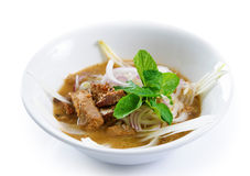 Asam laksa. Assam or asam laksa is a sour, fish-based soup. Delicious traditional Malay dish, malaysian food, Asian cuisine royalty free stock photo