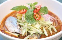 Asam Laksa Noodle Kampung Fish Or Penang Laksa Royalty Free Stock Photography