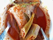 Asam Pedas oder heiße und saure Soße mit geschnittenen Fischen Lizenzfreie Stockfotos