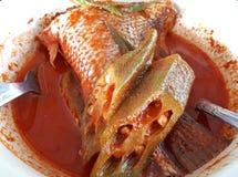Asam Pedas ou sauce au jus chaude et aigre avec les poissons coupés images stock
