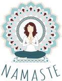 Asana di yoga - Lotus Pose Padmasana su loto - mandala illustrazione vettoriale