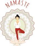 Asana di yoga - posa dell'albero (Vrikshasana) illustrazione vettoriale