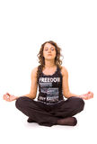 Asana girl. Young girl meditation. isolated on the white Stock Photography