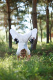 Asana pose in the forest Stock Image