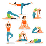 Asana yoga collection of girls doing sport in oriental poses Royalty Free Stock Photo