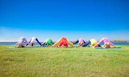 Asana Yoga Praxis der jungen Leute auf Seeufer Stockfotos