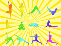 Asanas di yoga Fotografia Stock Libera da Diritti