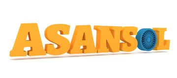 Asansol city name with flag colors styled letter O