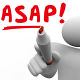 ASAP As Soon As Possible Man Person Writing Words Fast Speed Res. ASAP word written by man with red marker to tell you to act quickly and with fast speed for an Royalty Free Stock Photo