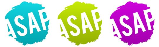 ASAP - As soon as possible Vector Badge. Eps10 Vector for commercial promotion Royalty Free Stock Photos