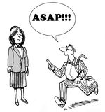 ASAP. B&W business illustration of a businessman running and shouting out to a businesswoman, 'ASAP Stock Photos