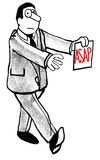 ASAP. B&W business illustration of businessman walking like a zombie and carrying a document that says 'ASAP Stock Photos
