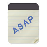 ASAP lettering  Notebook Template. ASAP - hand drawn lettering abbreviation on Notebook Template. Vector illustration quote. Handwritten inscription phrase for Royalty Free Stock Photo