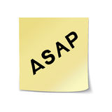 ASAP lettering on sticky note. ASAP - hand drawn lettering abbreviation on sticky note template. Vector illustration quote. Handwritten inscription phrase for Stock Image