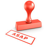 ASAP stamp. 3d rendering of a rubber stamp with ASAP in red ink Stock Photos