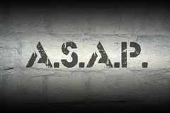 ASAP. Stencil print on the grunge white brick wall Stock Photo