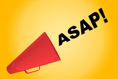 ASAP! urging concept. 3D illustration of ASAP! title flowing from a loudspeaker. As soon as possible Royalty Free Stock Photos