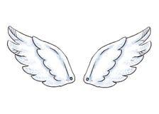 Asas bonitos dos desenhos animados Vector a ilustração com o ícone branco da asa do anjo ou do pássaro isolado imagens de stock royalty free