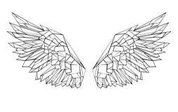 Asas brancas das asas poligonais para a tatuagem Foto de Stock Royalty Free