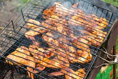 Asas de frango frito perfumadas fotografia de stock